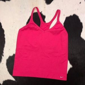 Nike seamless ribbed pink halter bra top